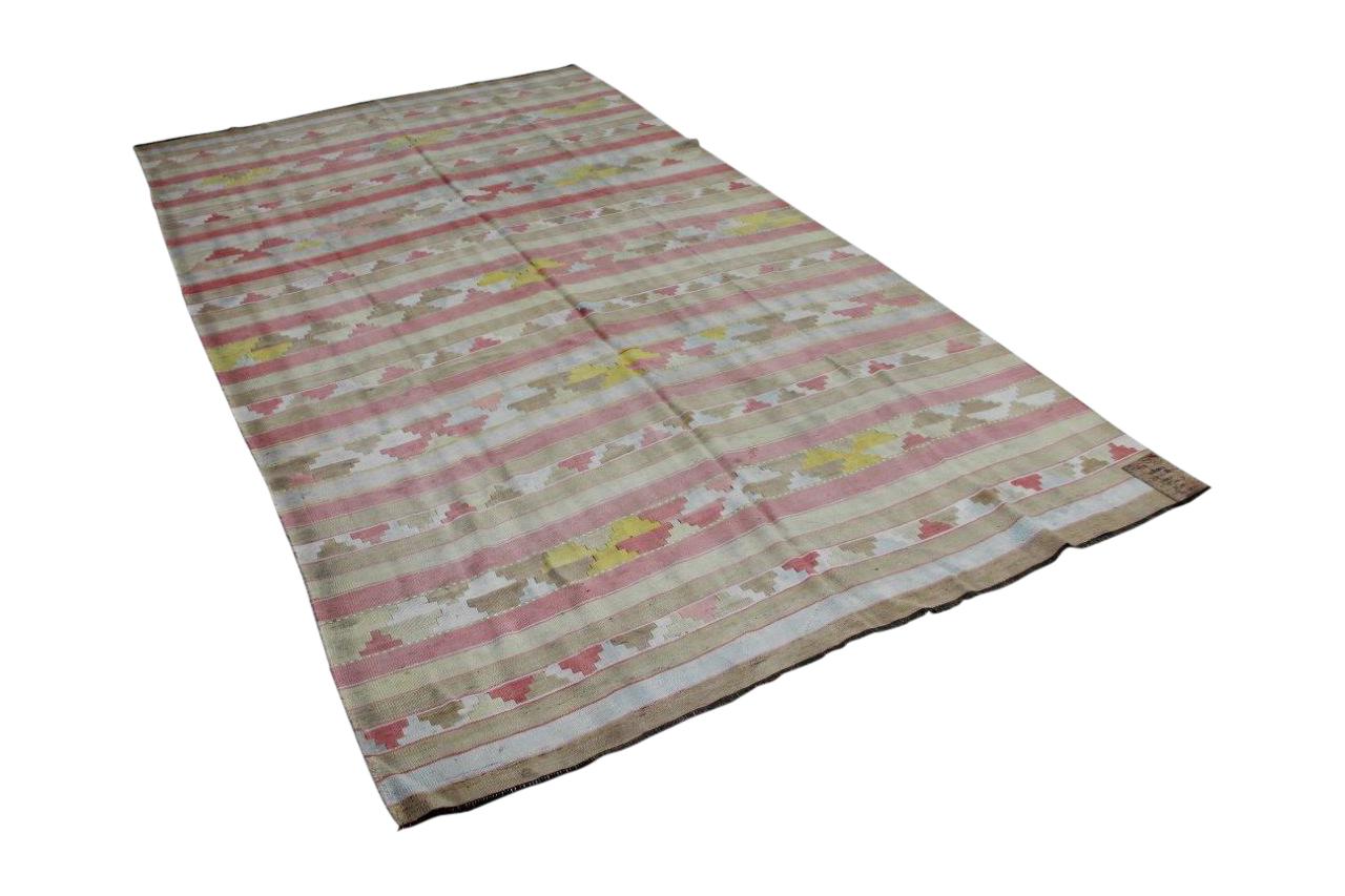 Antieke zijde kelim in pastel kleuren 317cm x 180cm