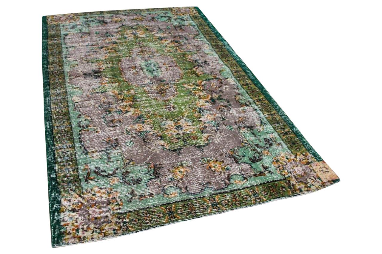 Vintage vloerkleed groen met paars 25132 230cm x 132cm