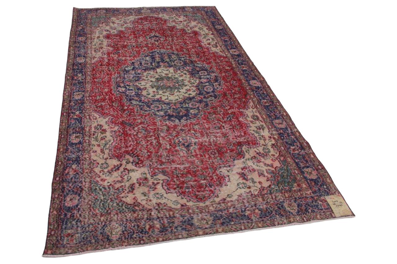 Vintage vloerkleed blauw met rood 296cm x 166cm